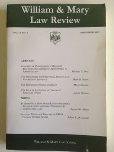 College of William & Mary Law Review VOL.54, NO. 2 November 2012 government text #Textbook