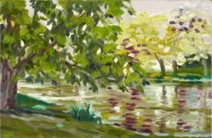 Ty Stroudsburg - Town Pond Chestnut Tree | From a unique collection of landscape paintings at http://www.1stdibs.com/art/paintings/landscape-paintings/