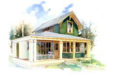 Cottage Style House Plan - 1 Beds 1.5 Baths 780 Sq/Ft Plan #479-9 Exterior - Front Elevation - Houseplans.com