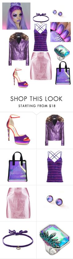 """""""Purple Passion"""" by sharanmichel ❤ liked on Polyvore featuring Jimmy Choo, Dries Van Noten, Kenzo, TYR, Boohoo, DANNIJO and Swarovski"""