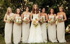 Champagne colored Amsale bridesmaids dresses- except all of our bridesmaids chose their own style <3