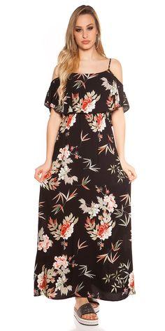 Dámské letní dlouhé šaty na ramínka s barevným květovaným potiskem, doplněno volánem.  Barva: černá  Materiál: 100% viskóza Cold Shoulder Dress, Dresses, Fashion, Vestidos, Moda, Fashion Styles, The Dress, Fasion, Dress