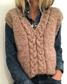 Ravelry: My braid vest pattern by Siv Kristin Olsen Knit Vest Pattern, Sweater Knitting Patterns, Hand Knitting, How To Purl Knit, Knit Fashion, Latex Fashion, Gothic Fashion, Clothing Patterns, Diy Clothes