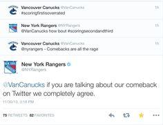 Canucks vs Rangers. Rangers win this one.