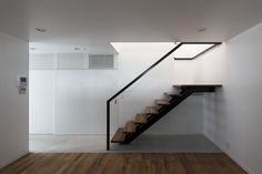 Architecture, Attractive Minimalist Compact Home Design By Shimizu Ken Architects In Tokyo Featuring Bright Color Interior With Wooden Staircase N And Parquet Floor: Simple Compact House Keeping the Interior Less Bright