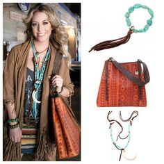 Rustico Orange Sunset bag and Vestige by Double J jewelry.