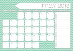 {Free Printables} 2013 Monthly Calendars with to-do list.  I like that each week begins with Monday instead of Sunday to make planning easier