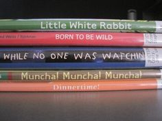 """Our librarian shared the idea of """"spine poetry"""" today with me, and I found these examples. What a cool way to create a poem! :)"""