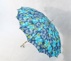 Vintage Umbrella Blue with Lucite Handle available from Alley Cats Vintage on Ruby Lane
