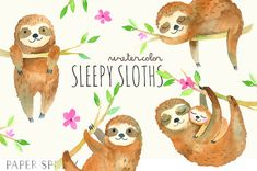 4 sleepy three-toed sloths (one is a mommy and baby), hand-painted in watercolors. Includes flower element. The graphics are hi-res and perfect for both digital and print use. Use these elements for digital scrapbooking, baby showers, event invitations, wall art, greeting cards, gift tags, party supplies, web sites, labels and so much more! -----DIGITAL INSTANT DOWNLOAD----- With Etsys Instant Downloads, you can download these files through your Etsy account as soon as payment is complete...