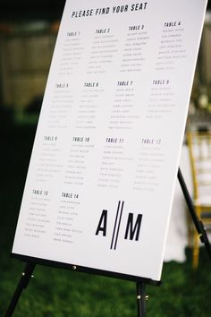 KENDRA STANLEY MILLS; grand rapids wedding; michigan wedding; at home wedding; modern simple seating chart; black and white seating chart;