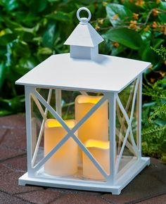 The Outdoor Triple Candle Lantern With Timer Brings Realistic Candlelight  To Your Deck Or Patio. Three Flameless LED Candles Provide Long Lasting  Light ...