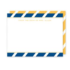 School Colors (Navy/Gold) Teacher Stationery (Note Card) - The bold angled stripe pattern in your school colors combined with a classic font makes this personalized/custom stationery the perfect gift for any teacher or school staff member with their name or monogram.
