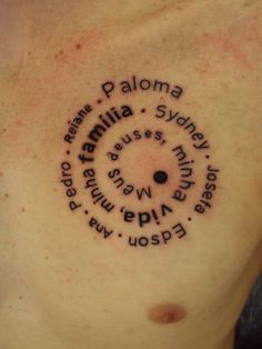 Tatuagem / Escrita / Família / Peitoral / Tattoo / Writing / Family / Chest #studio900 #crismaia