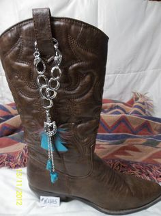 Items similar to Boot Strap Bangles &Turquoise Feathers on Etsy Boot Bling, Cowgirl Bling, Bling Shoes, Cowgirl Boots, Boot Jewelry, Beaded Jewelry, Anklet Jewelry, Anklets, Boot Bracelet