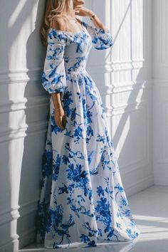 Floral Off The Shoulder Ball Gown Dress#The dress featuring floral pattern print. Off the shoulder design with long lantern sleeve. Pleated ball gown skirt.