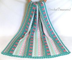 Mermaid Dreams Throw / new / handmade / afghan blanket  / turquoise / pink / coral / sea shell / baby / spring / unique