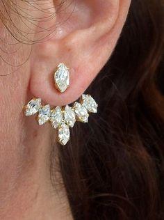 Ear jacket   Gold crystal ear jacket   Bridal earrings by EldorTinaJewelry   http://etsy.me/1PUJBbD