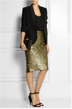 72ea0b3cb38c Robes et jupes sequins Alice et Olivia Gold Pencil Skirt
