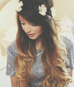 Her hair is perf. I wish i had long ombre hair like that. the flower crown is also an adorable touch!