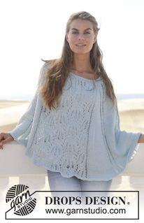 """Isla - Knitted DROPS poncho with lace pattern in """"Muskat"""". Size: S - XXXL. - Free pattern by DROPS Design"""