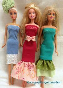 ompele barbille vaatteita ilman kaavoja Sewing Barbie Clothes, Barbie Sewing Patterns, Sewing Patterns Free, Doll Patterns, Clothing Patterns, Doll Clothes, Free Pattern, Strapless Dress, Prom Dresses
