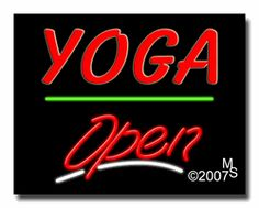 "Yoga Open Neon Sign - Script Text - 24""x31""-ANS1500-6568-3g  31"" Wide x 24"" Tall x 3"" Deep  Sign is mounted on an unbreakable black or clear Lexan backing  Top and bottom protective sides  110 volt U.L. listed transformer fits into a standard outlet  Hanging hardware & chain included  6' Power cord with standard transformer  Includes 2nd transformer for independent OPEN section control  For indoor use only  1 Year Warranty on electrical components."