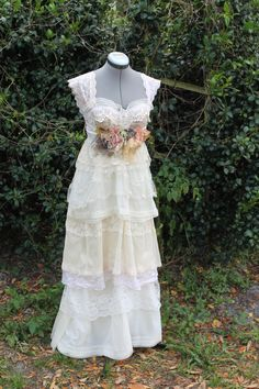 Wedding Dress Vintage Eco Friendly- Southern Sweetie Dress-LONG- Custom to your size and color. $345.00, via Etsy.