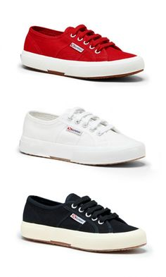 Iconic canvas sneakers by Superga. Italian-made with tonal ties, logo-embossed grommets and a wide rubber sidewall.