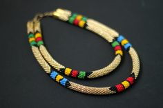 Layered African Necklace, African Beadwork, Double Strand Necklace, Maasai Necklace, Two Strand, Golden Necklace - MADE TO ORDER by HeriniaJewelry on Etsy