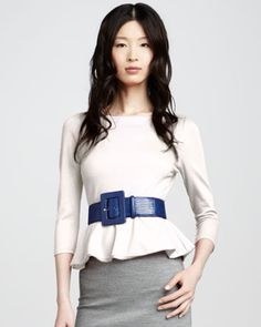 Patty Peplum Top, Ivory by Alice + Olivia at Neiman Marcus.