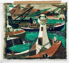 Lill Tschudi (1911-2004) - Harbor (Not in C.L.T.) linocut printed in colours, 1952