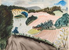 "Untitled (Small Farm), Milton Avery, 1937, watercolor on paper, 22 × 30"", the Milton and Sally Avery Arts Foundation."