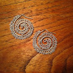 Billoware Nautilus Earrings - crochet fine silver on a sterling silver framework. www.Billoware.com