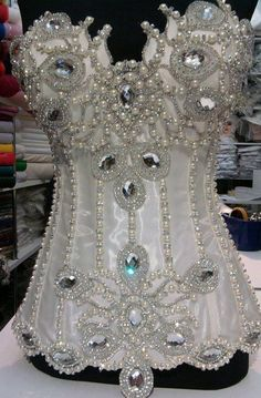 Beautiful ~ pearl and crystal corset Corset Vintage, Sexy Korsett, Fantasy Costumes, Sexy Lingerie, Beautiful Dresses, Marie, Fancy, Gowns, Wedding Dresses