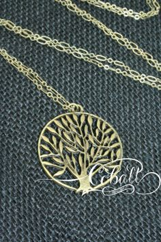 Cobalt Brass Willow pendant necklace