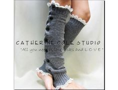 NEW SILVER  grey Button down venise IVORY lace edged leg warmers women great with or without boots Catherine Cole Studio lace legwarmers - LoveItSoMuch.com