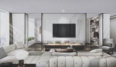 现代简约住宅--曾崧设计 6341894 Living Room Tv, Living Room Modern, Interior Design Living Room, Living Room Designs, Art Mural, Apartment Interior, Luxury Apartments, Luxury Living, Sofa