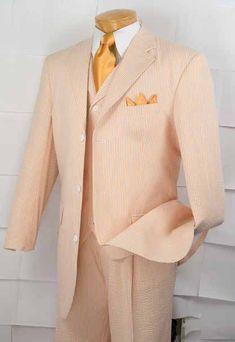 Vinci Mens 3 Piece Fashion Suit - Striped Seersucker - Clothing Connection Online