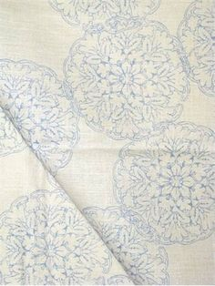 """John Robshaw Designer Fabric - Blockprint Textiles. Perfect drapery fabric or light use upholstery fabric.  55% linen, 45% rayon. Repeat: V: 13.5 H: 13.875, Duraguard finish. Made in U.S.A. 21034-7. 54"""" wide"""