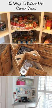 15 Ways To Better Use Corner Space - Decoration Corner Shelves Bedroom, Floating Corner Shelves, Corner Storage Unit, Corner Drawers, Corner Sink Kitchen, Diy Kitchen, Double Window, Corner Space, French Door Refrigerator