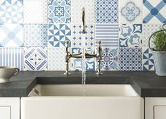 A blue and white backsplash from Odyssey's Blue Tapestry Collection. Decor, Style Tile, Tile Inspiration, Tiles, Patchwork Tiles, Blue Tapestry, Tile Design, White Kitchen Tiles, Blue Tiles