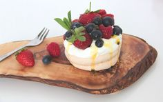Build your own pavlova with berries and passion fruit