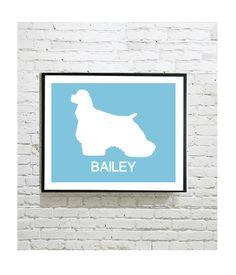 Dog Silhouette Digital Art Print - Cocker Spaniel - Personalized Dog Art - Personalised Gift - Pet Portrait - Print by OutlineArt Dog Silhouette, Cavalier King Charles, Dog Art, Pet Portraits, Cat Lovers, Moose Art, Digital Art, Art Prints, Pets