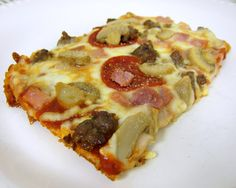 """Wheres The Crust"" Pizza  This pizza is low-carb and gluten free. The ""crust"" is made with cream cheese, eggs and parmesan cheese.  It doesn't sound like it would work, but it does.  You can make the crust ahead of time if you are pressed for time.  It can be stored in the refrigerator or in the freezer."