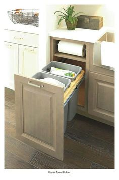cabinet base with paper-towel roll holder built in - this is huge!, Kitchen cabinet base with paper-towel roll holder built in - this is huge!, Kitchen cabinet base with paper-towel roll holder built in - this is huge! Farmhouse Kitchen Cabinets, Kitchen Redo, Kitchen And Bath, Huge Kitchen, Cheap Kitchen, Island Kitchen, Kitchen Dining, Kitchen Must Haves, Narrow Kitchen