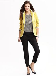 yellow blazer, black/white top, black skinnies