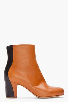 MAISON MARTIN MARGIELA Brown and black Trompe L'oeil Ankle boots