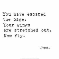 You have escaped the cage...your wings are stretched out. Now fly. All about…