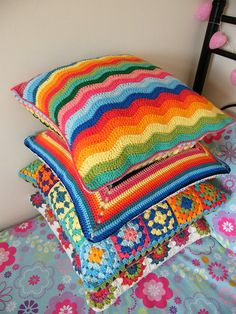 Colour burst with crochet cushions. Rico Creative Cotton, bottom cushion is Debbie Bliss Cotton